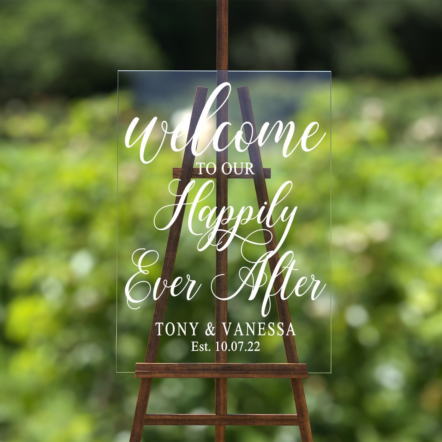 Happily Ever After Wedding Sign Decal | Welcome Wedding Sign | Chalkboard Decal | Personalized Sign | Rustic Wedding Decor