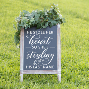 He Stole Her Heart | Wedding Decor | Chalkboard Decal | Wedding Sticker