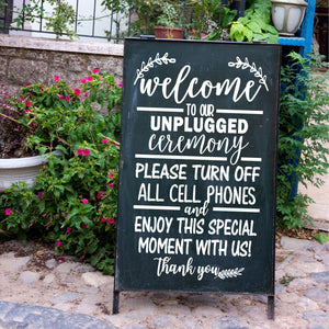 Unplugged Wedding Sign | DIY Decal Sticker