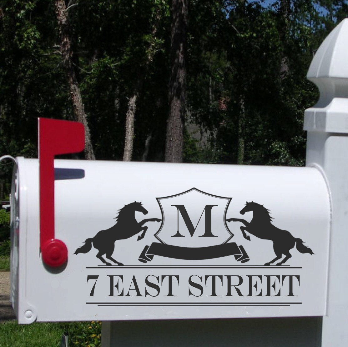 Mailbox Address Decal Stickers // Horse Mailbox Address // Custom Address Decal Stickers // Monogramed Address Decal