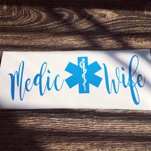 Medic Wife Bumper Sticker, Paramedic Wife, Paramedic Husband, Medic Love, Paramedic Gift, EM, Paramedic Cross, Medical Love, Star Decal
