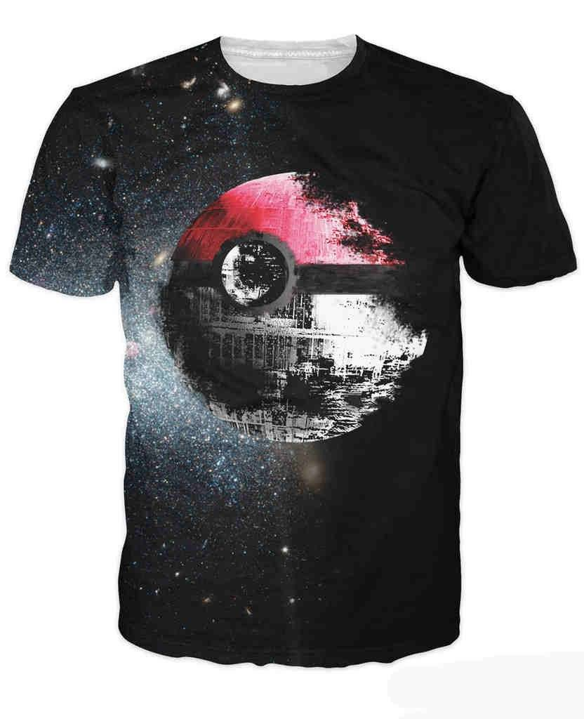 Pokeball Deathstar T-Shirt - TrendyHolic Anime