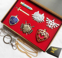 6pcs Legend of Zelda Shield & Sword Necklaces - TrendyHolic Anime
