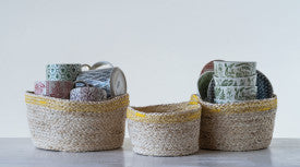 Maize Baskets with Yellow Stitching (Set of 3 Sizes)