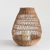 Handwoven Rattan Lantern with Glass Insert