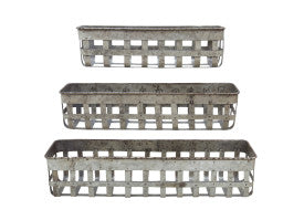 Rectangle Open Weave Iron Baskets Set 3