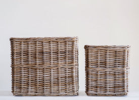 Square Brown Rattan Baskets (Set of 2 Sizes)