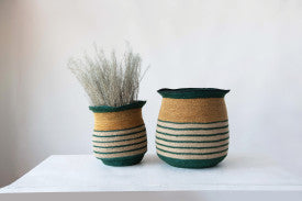 Handwoven Natural Seagrass Striped Baskets (Set of 2 Sizes)