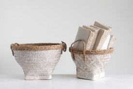 Woven Bamboo & Water Hyacinth Baskets with Whitewashed Finish & Handles (Set of 2 Sizes)