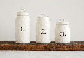 White Ceramic Canisters with Numbers (Set of 3 Sizes)