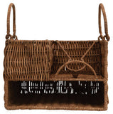 Handwoven Rattan Caddy with Handles & 7 Compartments