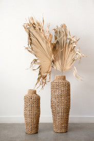 Handwoven Water Hyacinth & Rattan Floor Vase