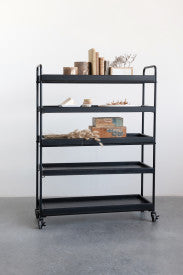Wood 5-Tier Tray-Style Shelves with Metal Frame & Locking Caster Wheels