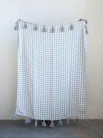 Grey & Cream Houndstooth Cotton Woven Throw with Grey Tassels