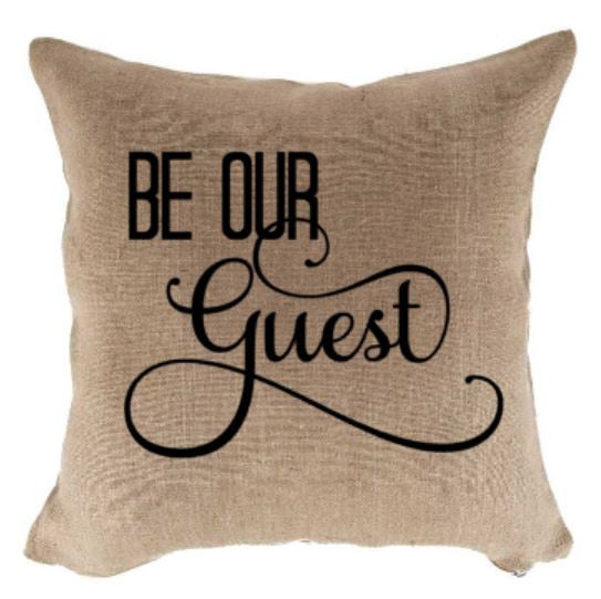 18 inch Be Our Guest Natural Jute Pillow Cover/Case-Pillows-Plush