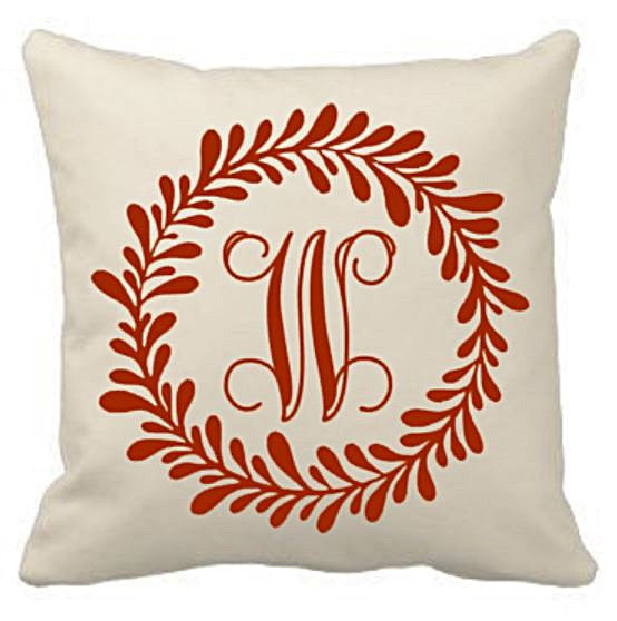 18 inch Canvas Pillow Cover - Laurel Wreath and Initial - Plush