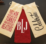 Custom/Personalized Jute Wine Bag - Congrats - Celebrate - Happy Birthday - Thank You - etc.