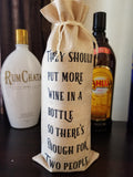 Custom/Personalized Jute Wine Bag - Pairs well with yoga pants and best friends - Plush