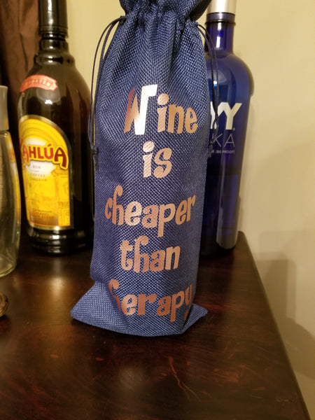 Custom/Personalized Jute Wine Bag - Wine is cheaper than therapy - Plush