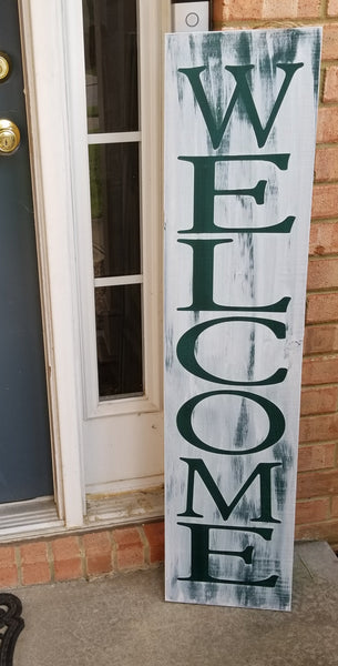 4 Foot Leaning Porch Sign - Welcome - Plush
