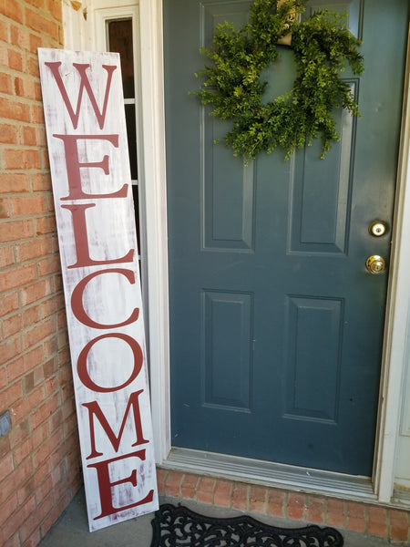 6 Foot Leaning Porch Sign - Welcome - Plush