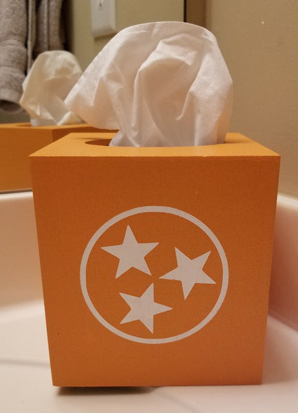 Custom Wooden Tissue Box Holder with Tennessee TriStar - Plush
