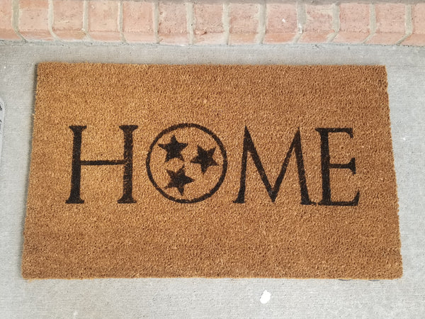 HOME Doormat with Tennessee Tristar/Welcome Mat - 3 Sizes to Choose From