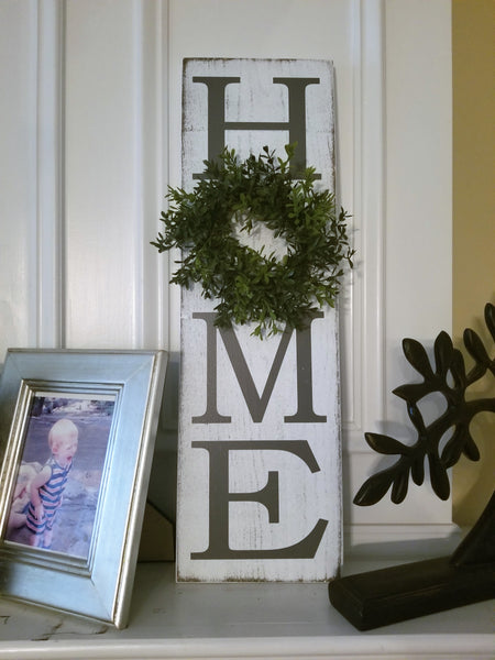 8x24 HOME Sign with Wreath - Plush