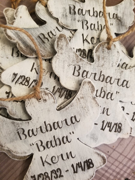Rustic Customized/Personalized Wooden Christmas Ornament - Angel - Plush
