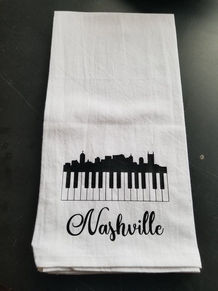 Tea Towel/Flour Sack Towel - Nashville Skyline and Piano Keys - Plush