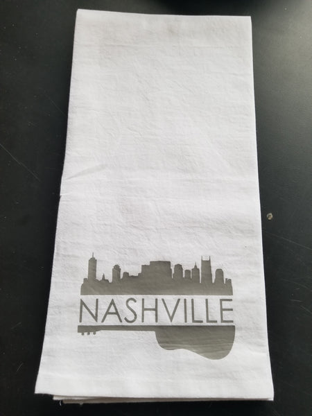 Tea Towel/Flour Sack Towel - Nashville Skyline and Guitar - Plush