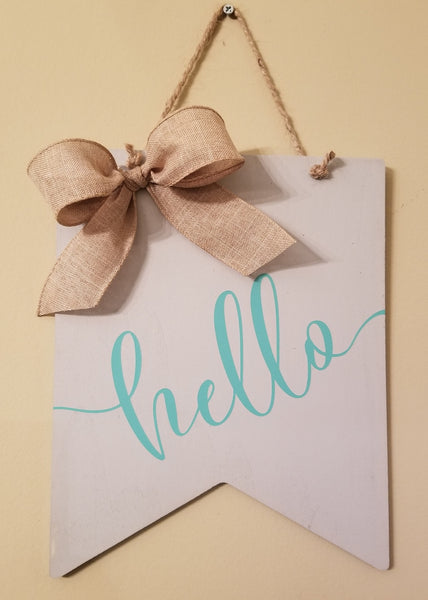 8x10 Wood Banner Sign - Hello, Welcome, Home Sweet Home - Plush