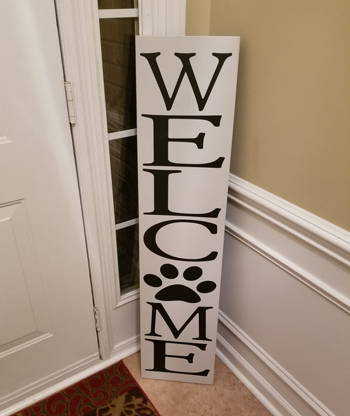 "4 Foot Leaning Porch Sign - Welcome with Paw Print on the ""O"" - Plush"