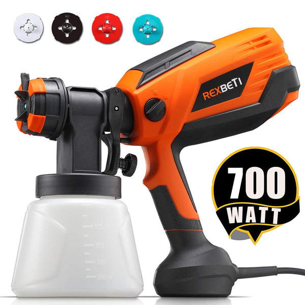 REXBETI 700 Watt High Power Paint Sprayer, 1000ml/min HVLP Home Electric Spray Gun with 1000ml Container, 4 Nozzle Sizes, Easy Spraying and Cleaning - Plush