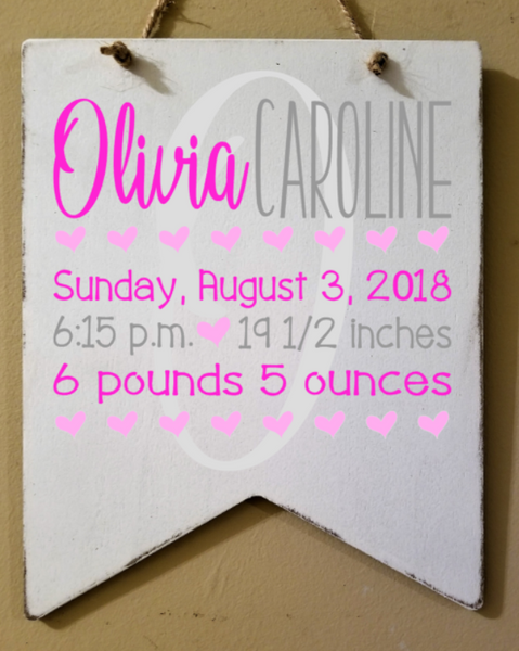 Custom 8x10 Wood Banner with Quote/Birth Announcement/Name - Plush
