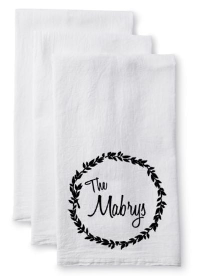 Tea Towel/Flour Sack Towel - Personalized/Custom Name - Plush