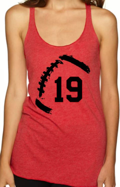 Football Racerback Tank with Rustic Football and Player Number - Plush