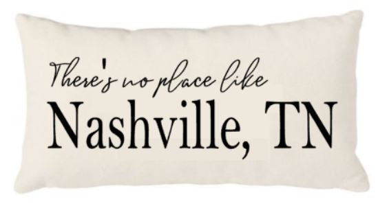 12x20 Natural Canvas Pillow - There's no place like Nashville, TN - Your City and State - Plush