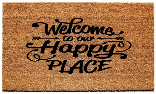 "Doormat with ""Welcome to our happy place"""