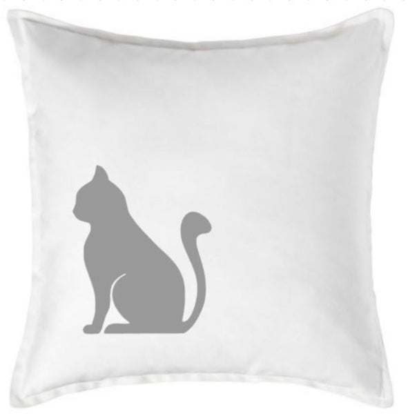 20 inch Cotton Pillow Cover - Cat Silhouette - Plush