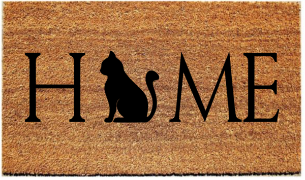 "HOME Doormat with Image in Place of ""O""/Welcome Mat - Plush"