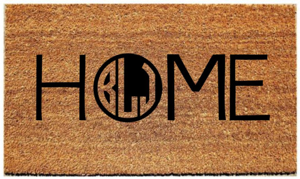HOME Doormat with Custom Monogram - 3 Sizes to Choose From - Plush