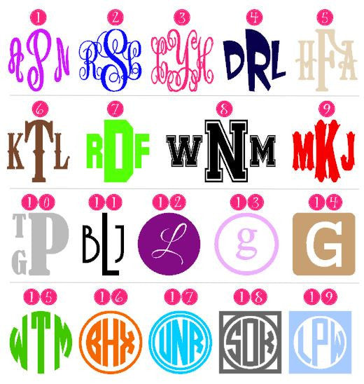 Monogram Decal - Personalized, Custom Decal - up to 6 inches-Vinyl Decals-Plush