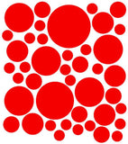 Sheet of 42 Polka Dot Vinyl Decals - Circles - Dots - Plush