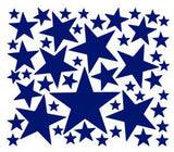 Sheet of Five Point Star Vinyl Decals in Various Sizes - Plush