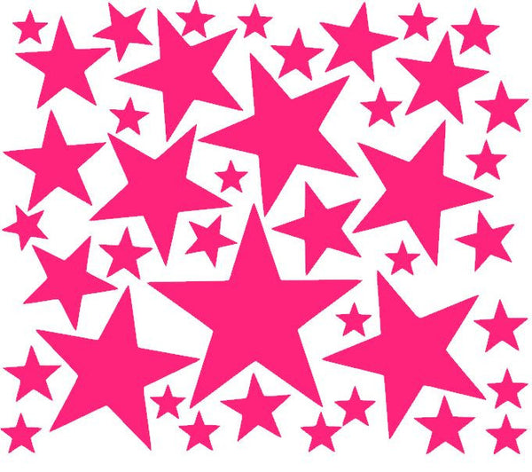 Sheet of Five Point Star Vinyl Decals in Various Sizes-Vinyl Decals-Plush