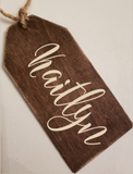 Personalized 3x6 Wood Stocking Tag/Gift Tag/Birthday Tag/Wine Tag - Plush