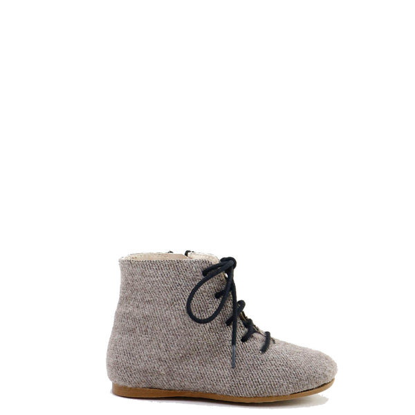 Papanatas Taupe Wool Lace-Up Bootie-Tassel Children Shoes