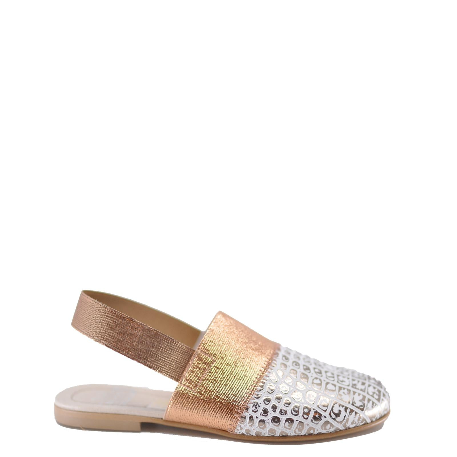 Hoo Rose Gold Croc Slingback-Tassel Children Shoes