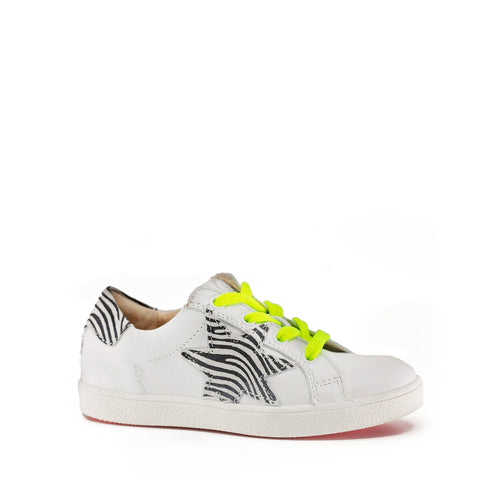 Acebos White and Yellow Zebra Print Lace Sneaker-Tassel Children Shoes